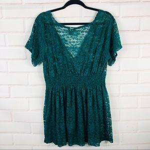 Torrid Plus Size 2X Blouse Top Green Emerald